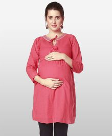 Nine Three Fourth Sleeves Maternity Nursing Tunic Embroidered With Tassel - Pink