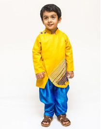 Asi Tattva Hand Embroidered Kurta And Dhoti Pant - Yellow & Blue
