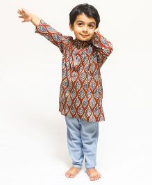 Asi Tattva Leaf Print Kurta - Brown