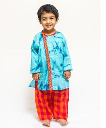 Asi Tattva Tie-N-Dye Kurta With Pajama - Blue & Red