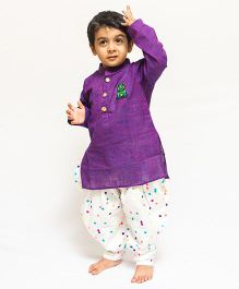 Asi Tattva Smart Kurta And Polka Dot Dhoti Pant - Purple