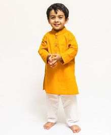 Asi Tattva Solid Kurta With Pant Set - Yellow