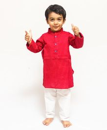 Asi Tattva Elegant Kurta And Pant Set - Red