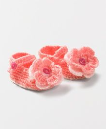 Knits & Knots Flower Booties - White & Peach