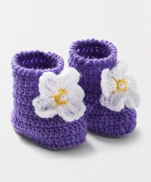 Knits & Knots High Booties - Purple & White