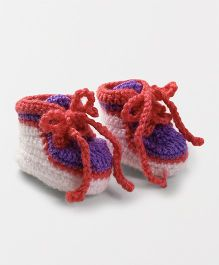 Knits & Knots Cute Design Booties - White & Peach