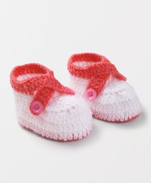 Knits & Knots Cross Over Booties - White & Peach