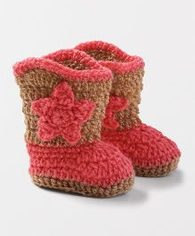 Knits & Knots Cowboy Booties - Peach & Brown