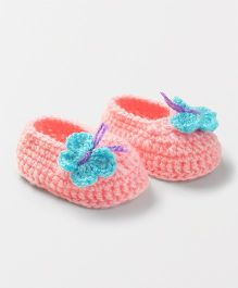 Knits & Knots Butterfly Booties - Peach