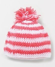 Knits & Knots Pom Pom Cap - Peach & White