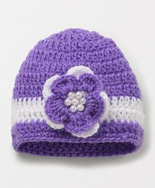 Knits & Knots Floral Cap - Purple & White