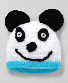 Knits & Knots Cute Panda Cap - White