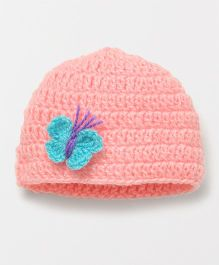 Knits & Knots Butterfly Motif Cap - Peach