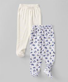 Babyhug Bootie Leggings Stripes & Floral Print Pack of 2 - Yellow White