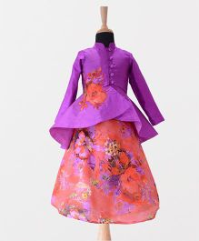 Tu Ti Tu Silk High Low Peplum Top With Floral Lehenga - Purple & Coral