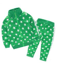 Pre Order - Wonderland Star Printed Zipper & Pant - Green