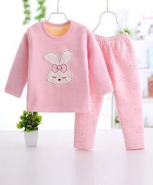 Pre Order - Wonderland Cute Bunny Face Printed Thick Set - Pink
