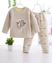 Pre Order - Wonderland Bird Printed Thick Set - Beige