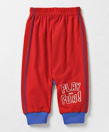 Bodycare Full Length Track Pant Text Printed - Red