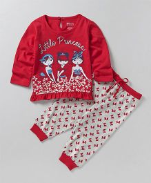 Bodycare Full Sleeves Top And Pajama Little Princess Print - Red White
