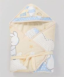 Mee Mee Shearling Hooded Blanket Bunny Print - Light Yellow
