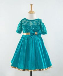 The KidShop Sweet Viola Flower & Sequin Embroidered Dress - Turquoise Blue