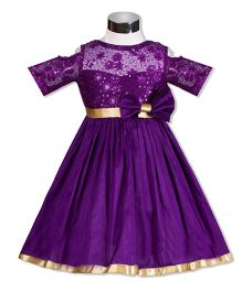 The KidShop Sweet Viola Flower & Sequin Embroidered Dress - Purple