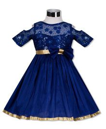 The KidShop Sweet Viola Flower & Sequin Embroidered Dress - Royal Blue