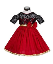 The KidShop Sweet Viola Flower & Sequin Embroidered Dress - Red & Black