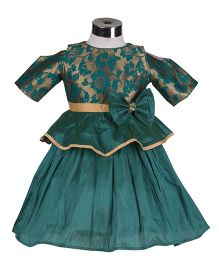 The KidShop Rose Flower Peplum Style Party Dress - Green