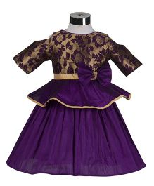 The KidShop Rose Flower Peplum Style Party Dress - Purple