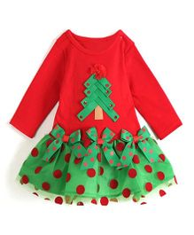 Pre Order - Awabox Christmas Tree Design Dress - Red