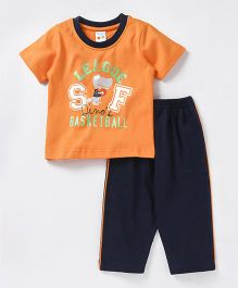 Tango Half Sleeves Night Suit Basketball Print - Orange & Navy