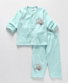 Tango Winter Wear Night Suit Bunny Print - Cyan Blue