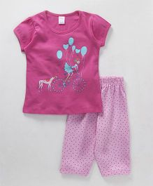 Tango Short Sleeves Top And Pajama Girl & Balloon Print - Pink