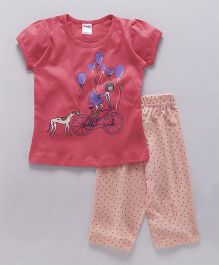 Tango Short Sleeves Top And Pajama Girl & Balloon Print - Red Peach