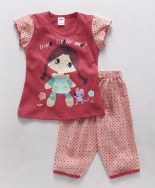 Tango Short Sleeves Top And Pajama Girl Print - Red