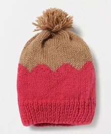 The Original Knit Striking Cap With Pom Pom - Magenta