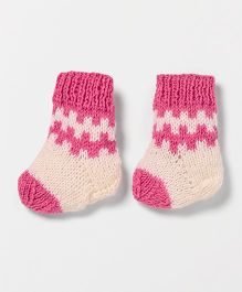 The Original Knit Booties With Striking Design - Off White & Magenta