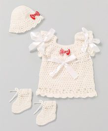 The Original Knit Bow Design Dress With Cap & Booties - White
