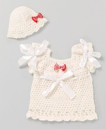 The Original Knit Bow Design Dress With Cap - White
