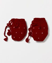 The Original Knit Heart Design Mittens - Red