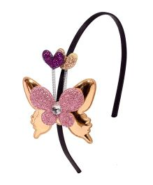 Miss Diva Butterfly With Ears Hairband - Golden