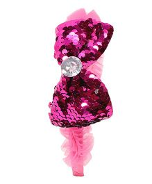 Miss Diva Double Shade Soft & Shinny Bow Hairband - Magenta