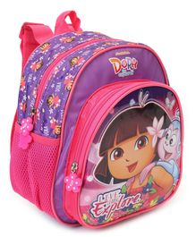 Dora Backpack Flower Print Pink Purple - Height 9.84 inches