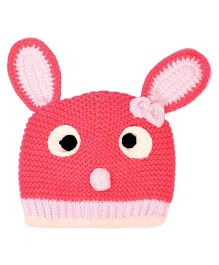 Miss Diva Super Cute Bunny Crochet Cap - Magenta
