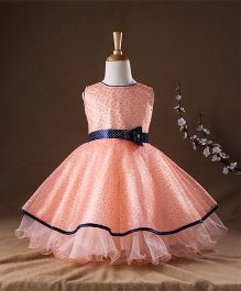 Bluebell Party Wear Sleeveless Frock Flower Applique - Peach