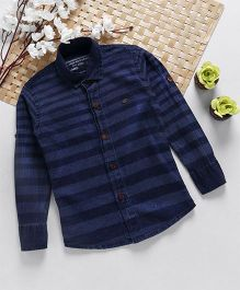 Jash Kids Full Sleeves Striped Denim Shirt - Blue