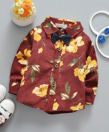 Lilpicks Couture Floral Print Shirt With Bow - Brown