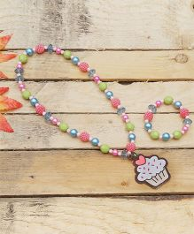 D'chica Cupcake Patch Pendant Jewelry Set - Multicolor